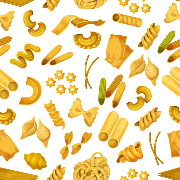 Macaroni or italian pasta seamless pattern Italian pasta seamless pattern background. Macaroni like torti and quadretti, bucatini and tricolore, konkiloni and cannelloni, kanelone, farfalle, lazania and funghetto, stelle and nidi di rondine tagliatelle. Spaghetti shop, food wrapper theme canelones stock illustrations