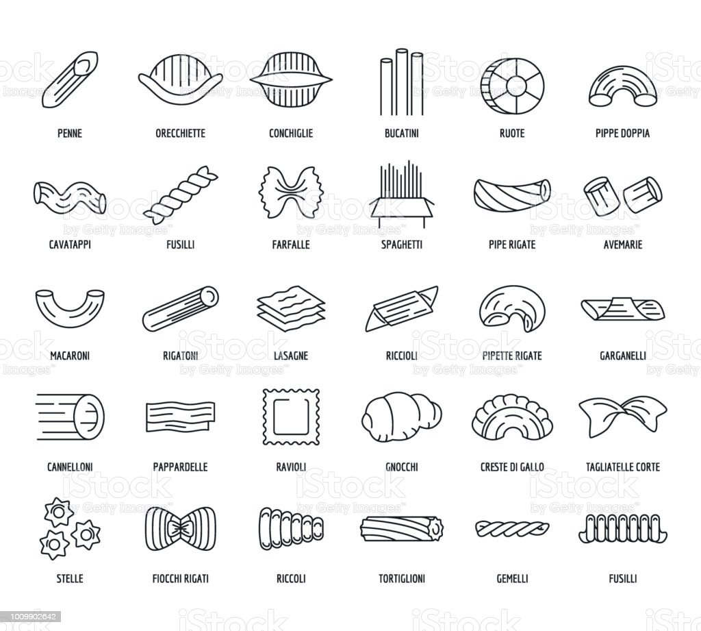 Macaroni pasta spaghetti icons set, outline style Macaroni pasta spaghetti noodles icons set. Outline illustration of 30 macaroni pasta spaghetti noodles vector icons for web Black Color stock vector
