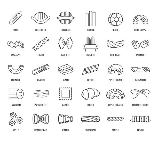 illustrazioni stock, clip art, cartoni animati e icone di tendenza di macaroni pasta spaghetti icons set, outline style - pasta