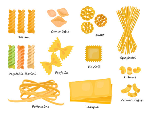 Macaroni types set Macaroni types set. Collection of pasta shapes. Can be used for topics like food, Italian cuisine, cooking rotelle stock illustrations