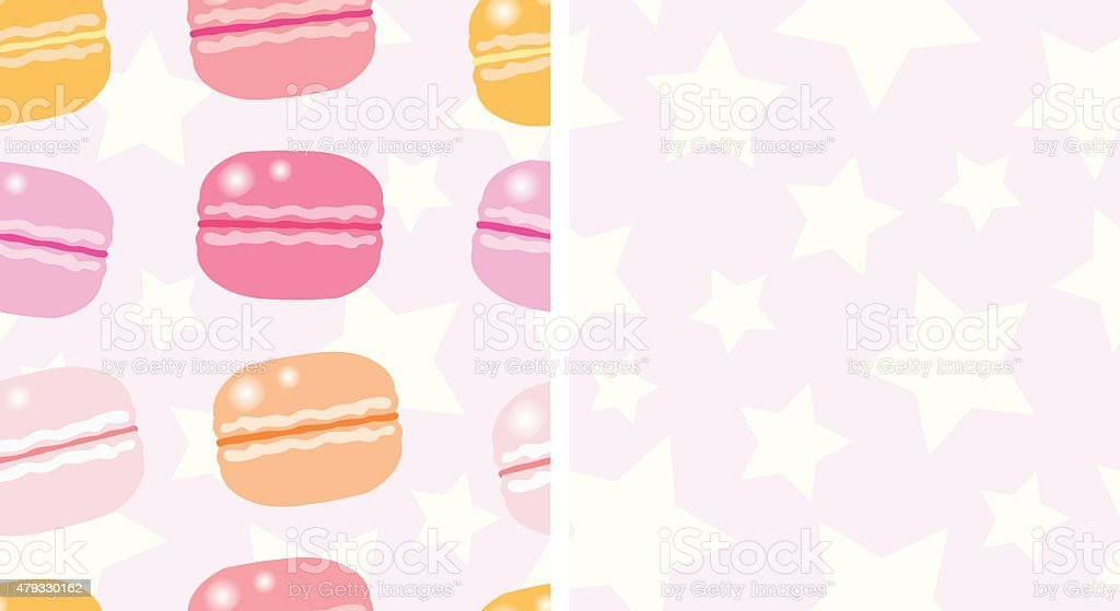 macarons and stars; seamless pattern vector art illustration
