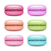 Realistic Macarons Set Vector. Detailed Colourful French Macaroons Isolated On White Background Illustration.