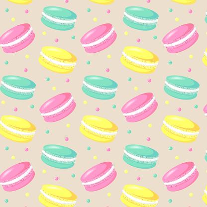 Macaroons seamless pattern.
