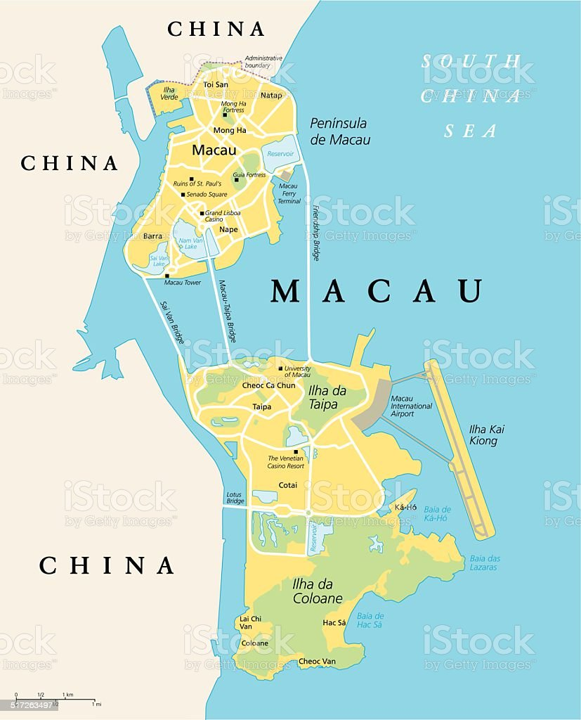 Macau Political Map Stock Vector Art More Images of China East