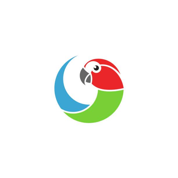 ilustrações de stock, clip art, desenhos animados e ícones de macaw parrot. logo. isolated parrot on white background - arara