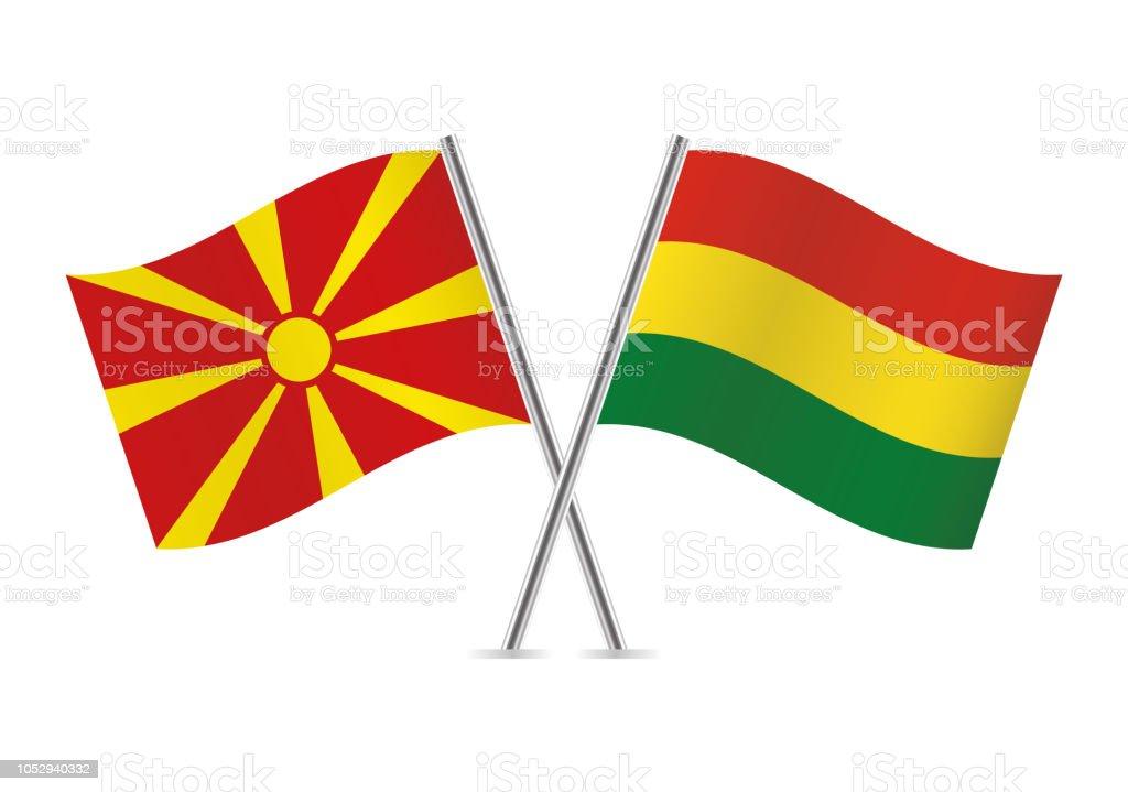 Banderas de Macedonia y Bolivia. Ilustración de vector. - ilustración de arte vectorial
