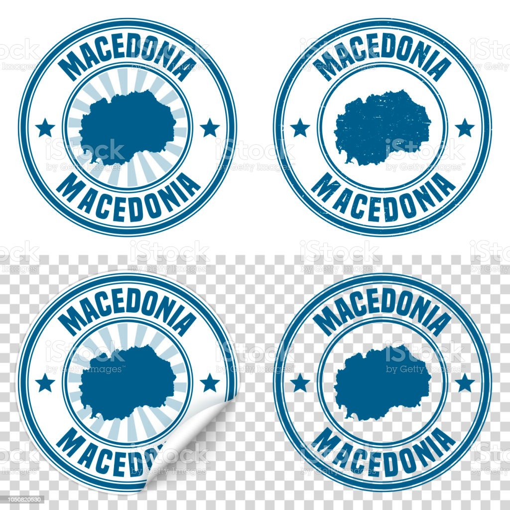 Macedonia - Blue sticker and stamp with name and map vector art illustration