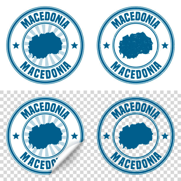 macedonia - blue sticker and stamp with name and map - macedonia country stock illustrations, clip art, cartoons, & icons
