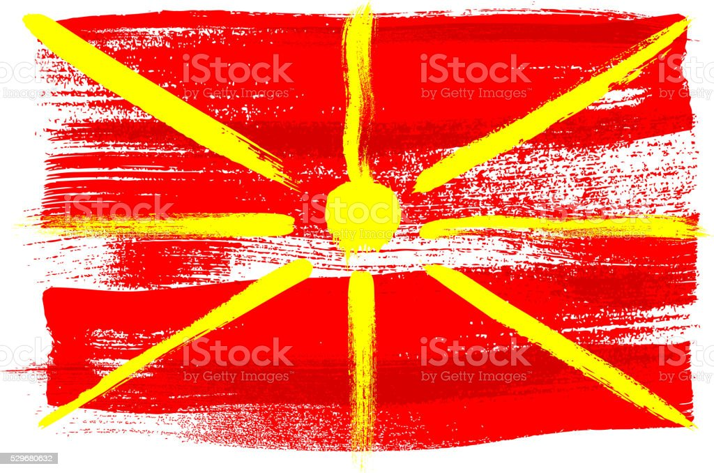 Macedonia colorful brush strokes painted flag vector art illustration