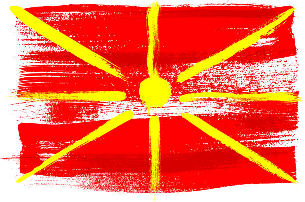 macedonia colorful brush strokes painted flag - macedonia country stock illustrations, clip art, cartoons, & icons
