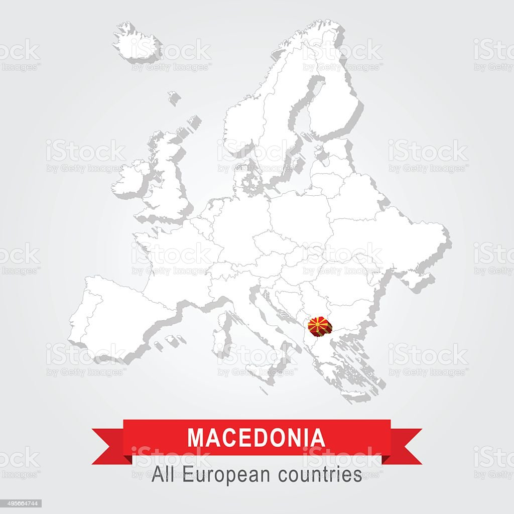 Macedonia. Europe administrative map. vector art illustration
