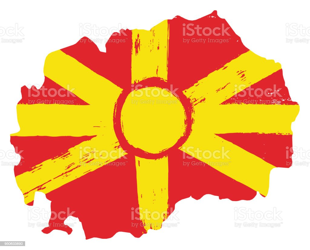 Macedonia Flag & Map Vector Hand Painted with Rounded Brush vector art illustration