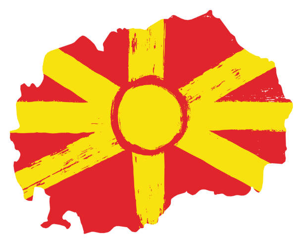 macedonia flag & map vector hand painted with rounded brush - macedonia country stock illustrations, clip art, cartoons, & icons