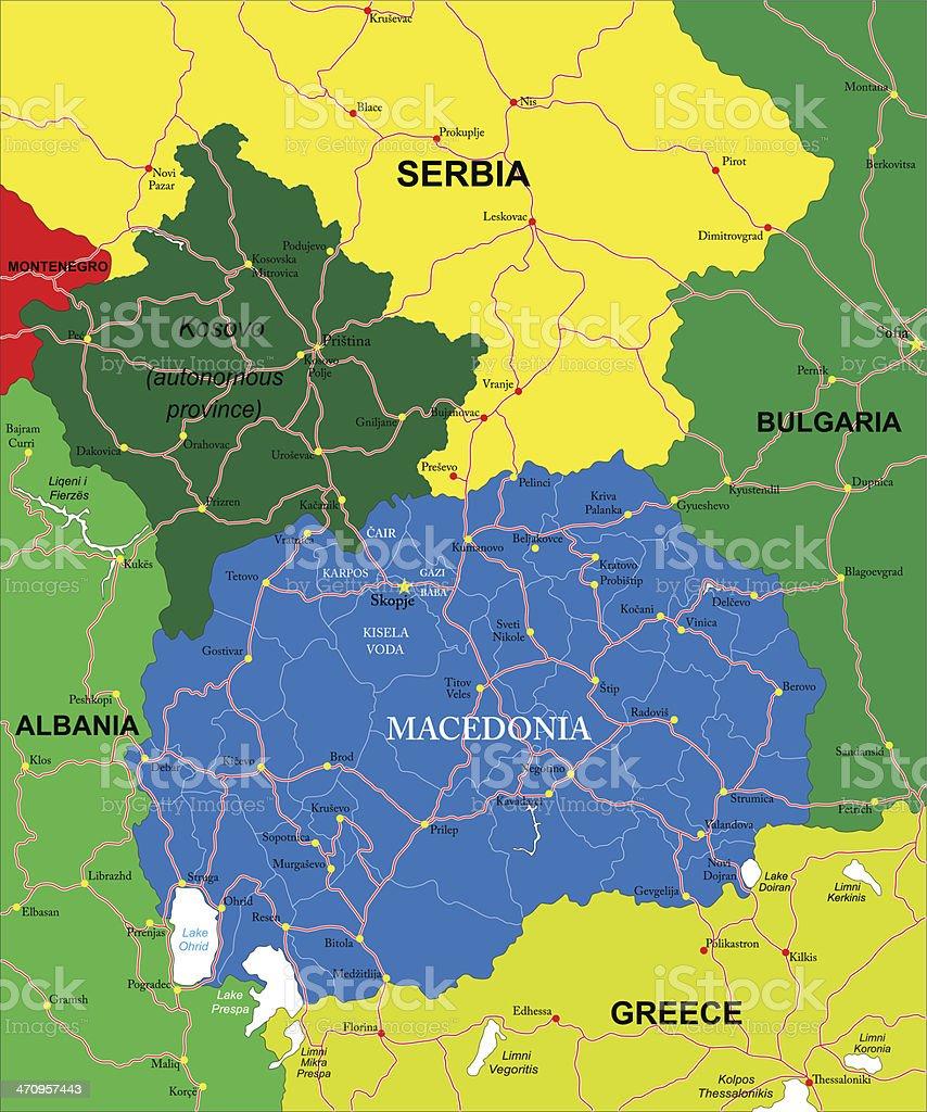 Mazedonien Karte.Mazedonien Karte Stock Vektor Art Und Mehr Bilder Von Albanien Istock