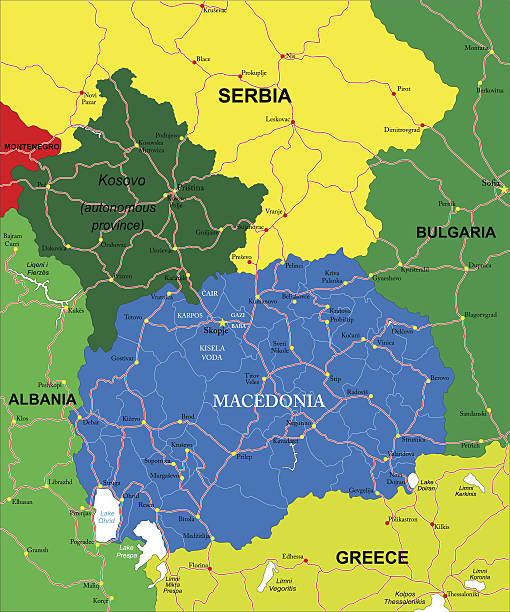 macedonia map - macedonia country stock illustrations, clip art, cartoons, & icons