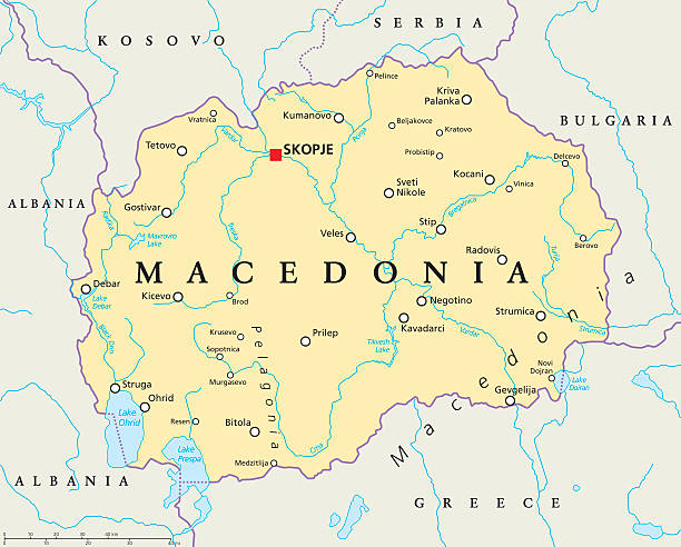macedonia political map - macedonia country stock illustrations, clip art, cartoons, & icons