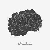 Macedonia region map: grey outline on white background.