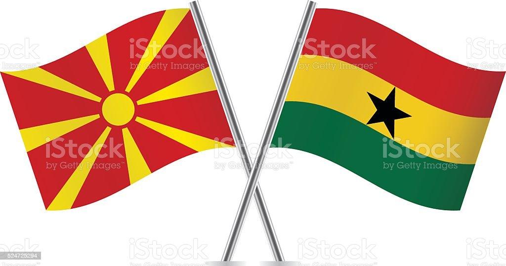 Macedonia y ghanés flags. Vector. - ilustración de arte vectorial