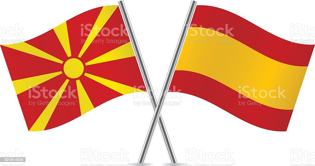 Macedonian and Spain flags. Vector. vector art illustration
