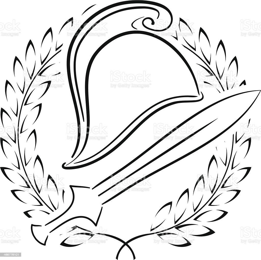 Macédonien phrygien casque avec couronne de laurier - Illustration vectorielle