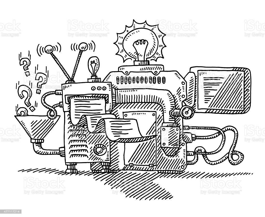 Como Dibujar La Maquina Voladora: Machine For Generating Ideas Drawing Stock Vector Art