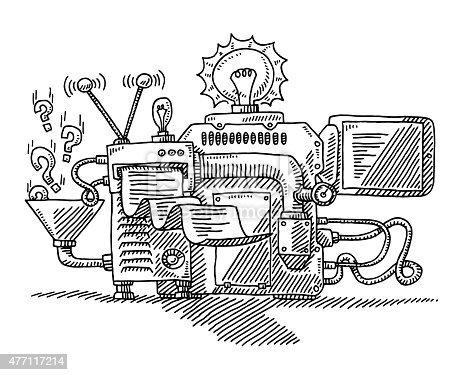Hand-drawn vector drawing of a Machine For Generating Ideas. Black-and-White sketch on a transparent background (.eps-file). Included files are EPS (v10) and Hi-Res JPG.