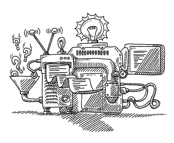 Machine For Generating Ideas Drawing Hand-drawn vector drawing of a Machine For Generating Ideas. Black-and-White sketch on a transparent background (.eps-file). Included files are EPS (v10) and Hi-Res JPG. business stock illustrations