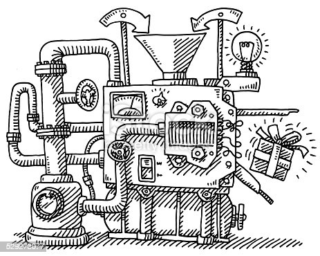 Hand-drawn vector drawing of a Machine with an Input Funnel, Pipes, a Lightbulb and it's Output, a Gift Box. Black-and-White sketch on a transparent background (.eps-file). Included files are EPS (v10) and Hi-Res JPG.