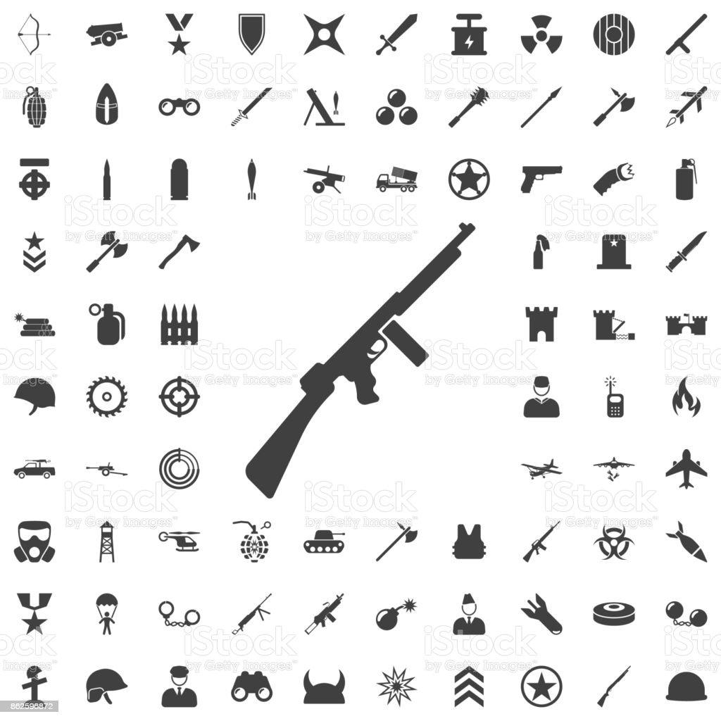 Ícone de metralhadora cinza. - ilustração de arte em vetor