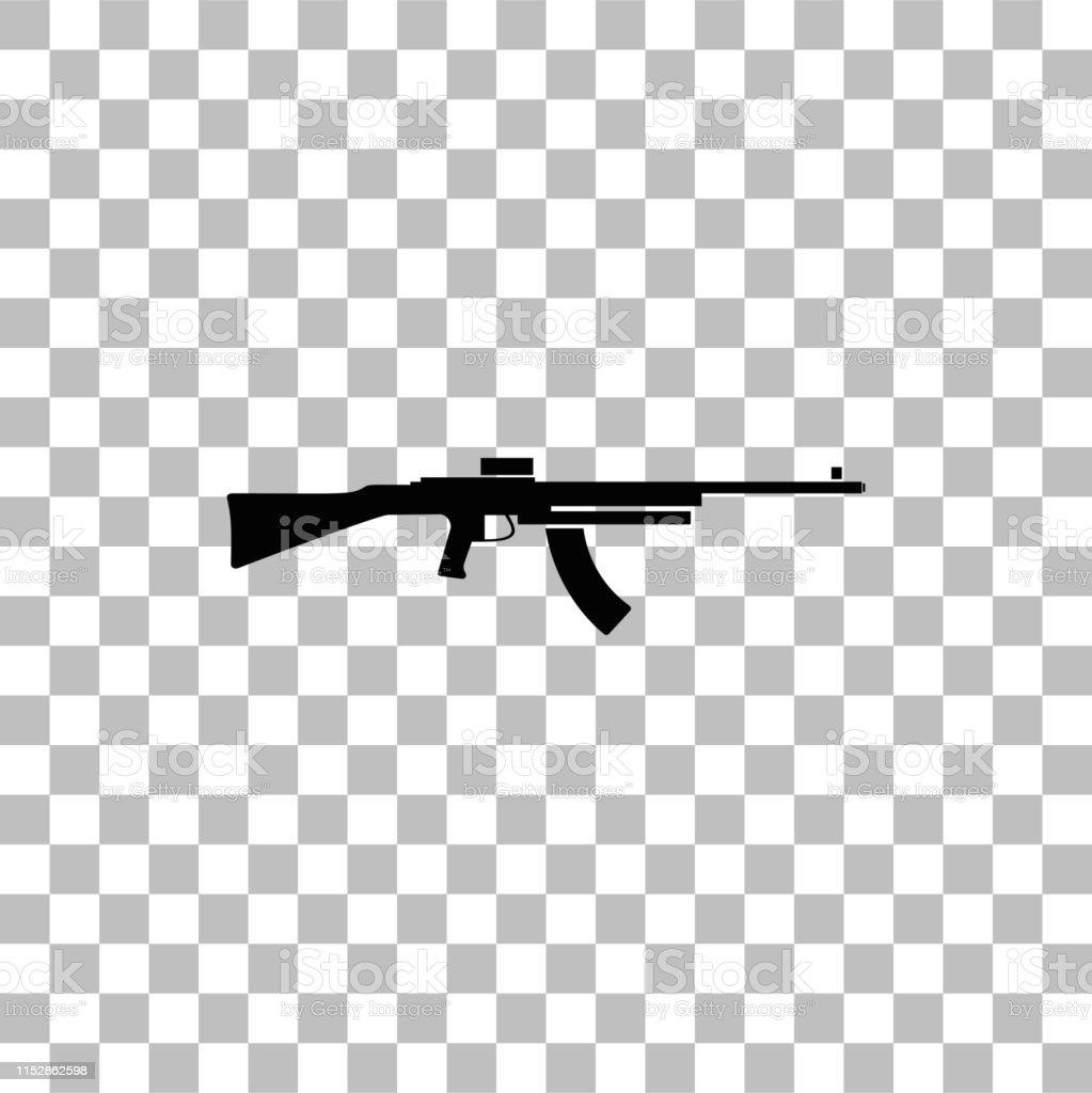 Machine Gun Icon Flat Stock Illustration - Download Image
