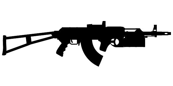Machine gun silhouette isolated on white background. Vector illustration