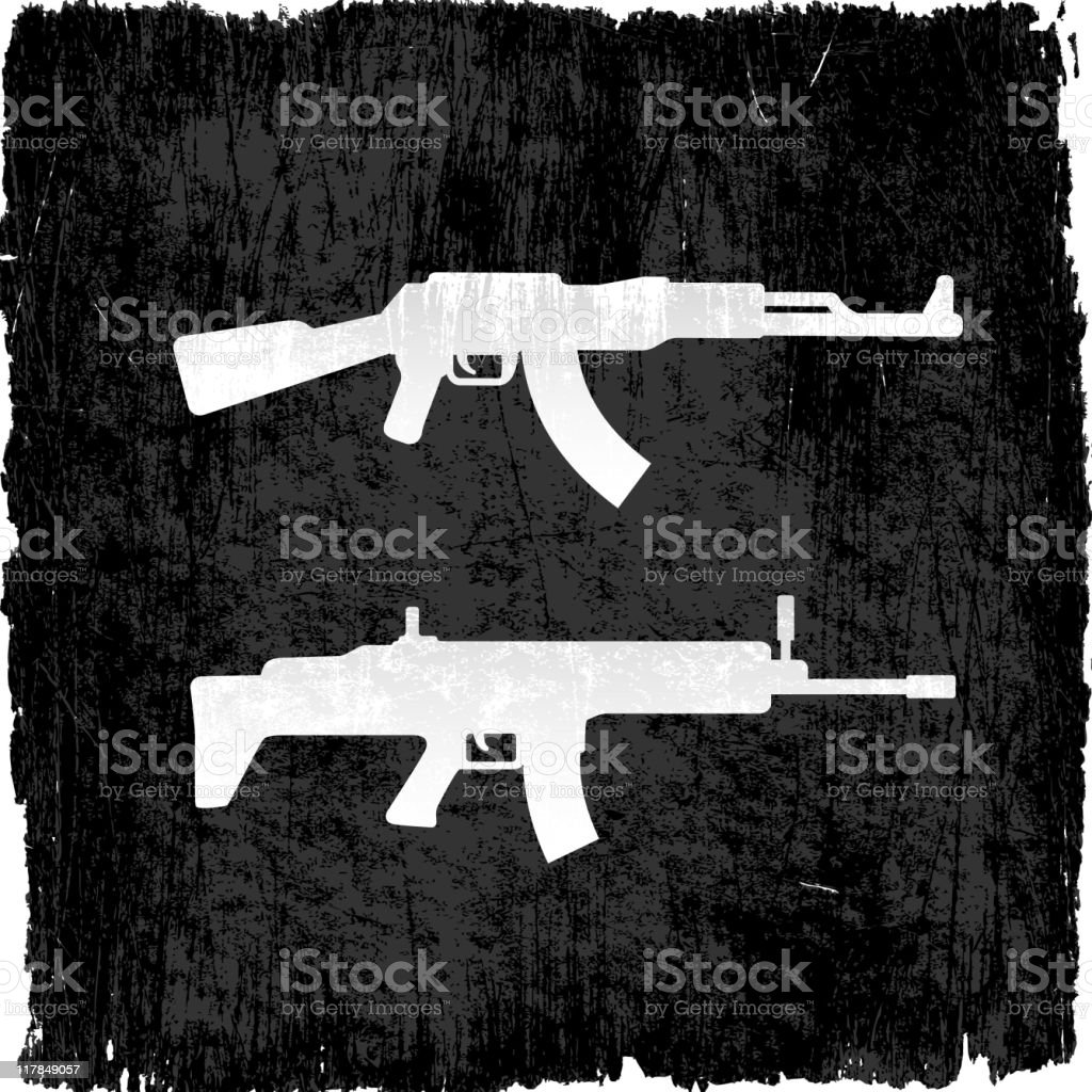 machine guns on royalty free vector Background royalty-free stock vector art