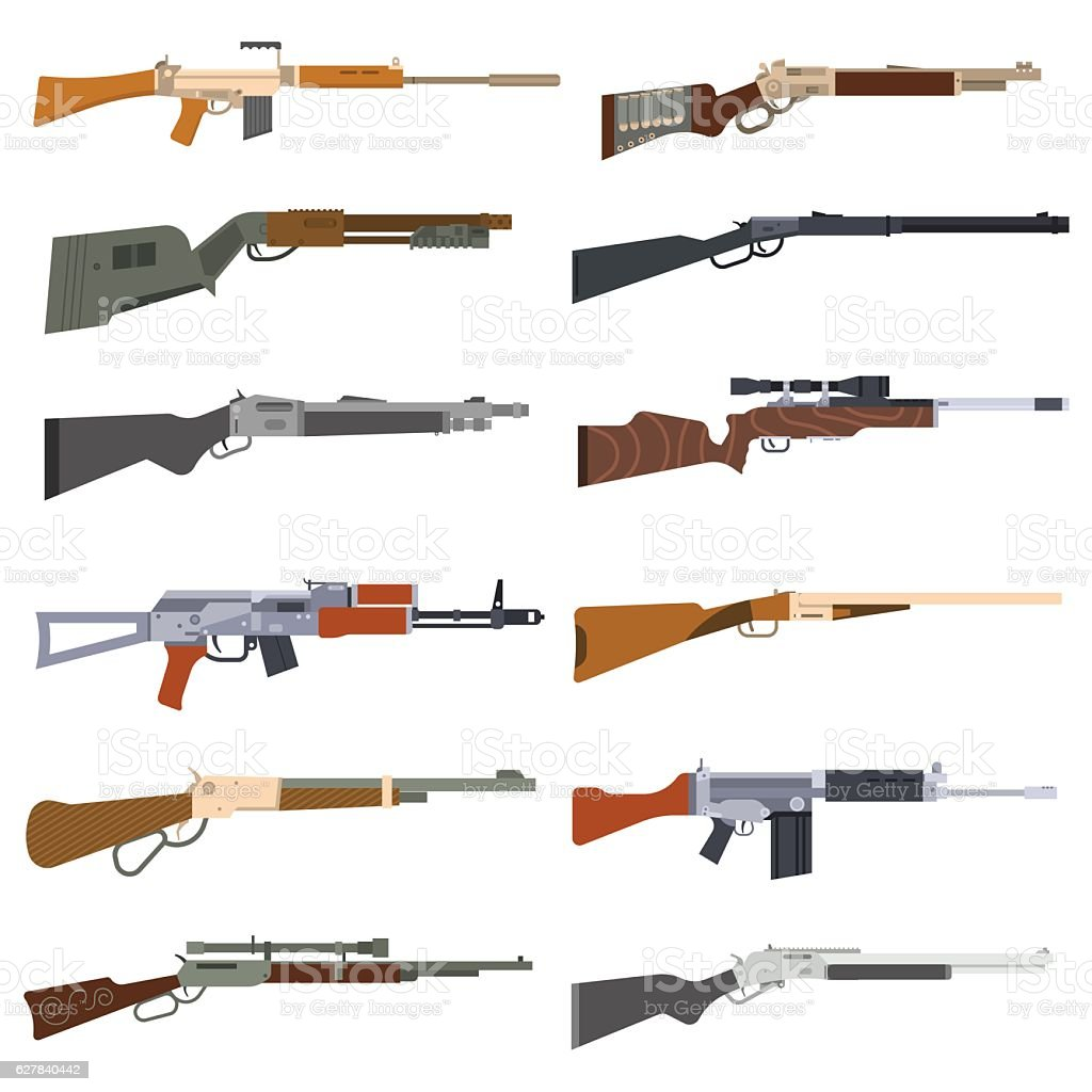 Machine guns vector set. vector art illustration