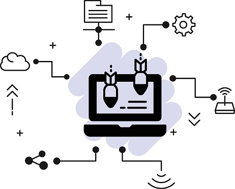 Machine Hacking Attempt stock illustration, Distributed DoS attack vector icon design, Cloud computing and Web hosting services Symbol, Application layer attacks Concept,