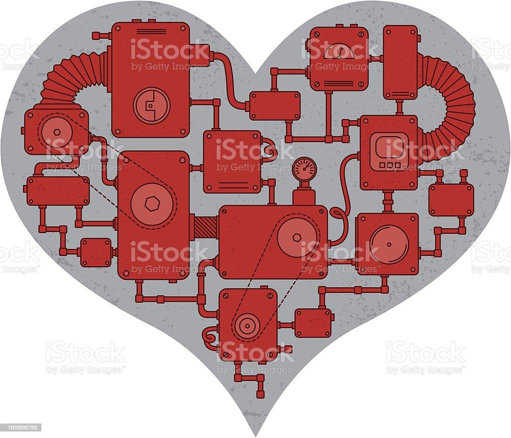 Machine heart vector art illustration