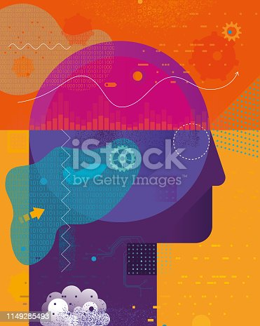 Vibrant flat vector illustration depicting Ai intelligence concept. Illustration is a combination of vector and hand drawn elements
