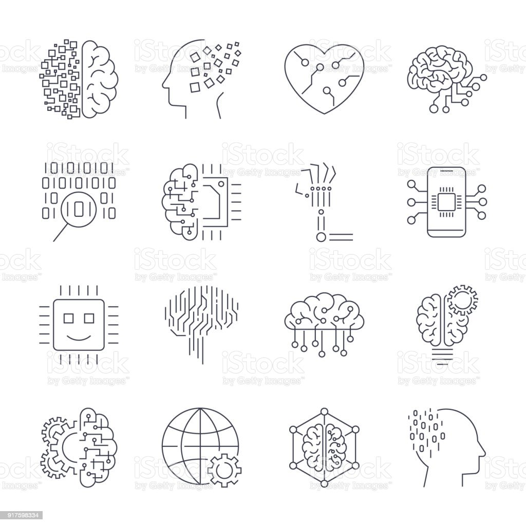 Machine learning, AI, artificial intelligence, concept technology of future. Editable Stroke vector art illustration