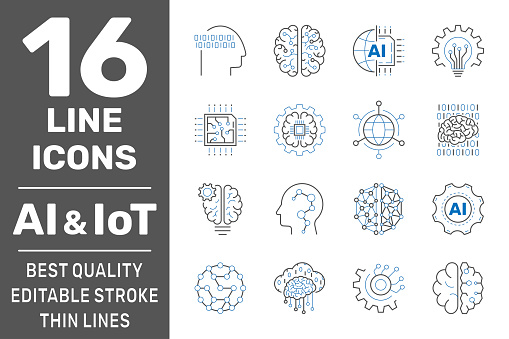 Machine learning, AI, IoT line icons. Set of artificial intelligence, digital brain, automated system and more. Editable stroke. EPS 10