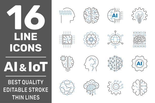 Machine learning, AI, IoT line icons. Set of artificial intelligence, digital brain, automated system and more. Editable stroke. EPS 10 Machine learning, AI, IoT line icons. Set of artificial intelligence, digital brain, automated system and more. Editable stroke. EPS 10 automated stock illustrations