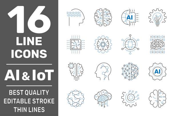 ikony linii uczenia maszynowego, ai, iot. zestaw sztucznej inteligencji, cyfrowego mózgu, zautomatyzowanego systemu i innych. edytowalne obrys. eps 10 - ai stock illustrations