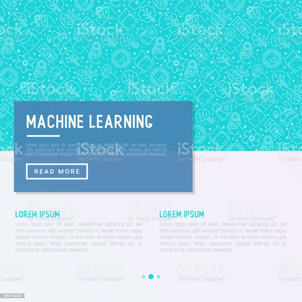 Machine learning and artificial intelligence concept with thin line icons. Vector illustration for banner, web page, print media. royalty-free machine learning and artificial intelligence concept with thin line icons vector illustration for banner web page print media stock vector art & more images of analyzing