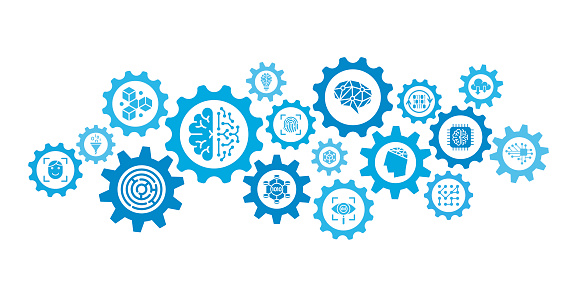 Machine Learning and Artificial Intelligence - Gears Mechanism Abstract Background Concept - Vector Stock Illustration