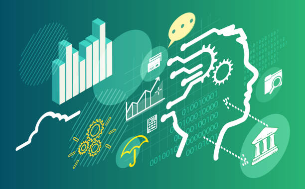 Machine Learning and Artificial Intelligence in Banking System - Illustration Machine Learning and Artificial Intelligence in Banking System - Illustration as EPS 10 File banking silhouettes stock illustrations