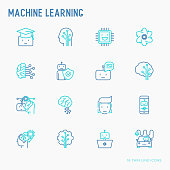 Machine learning and artificial intelligence thin line icons set. Vector illustration for banner, web page, print media.