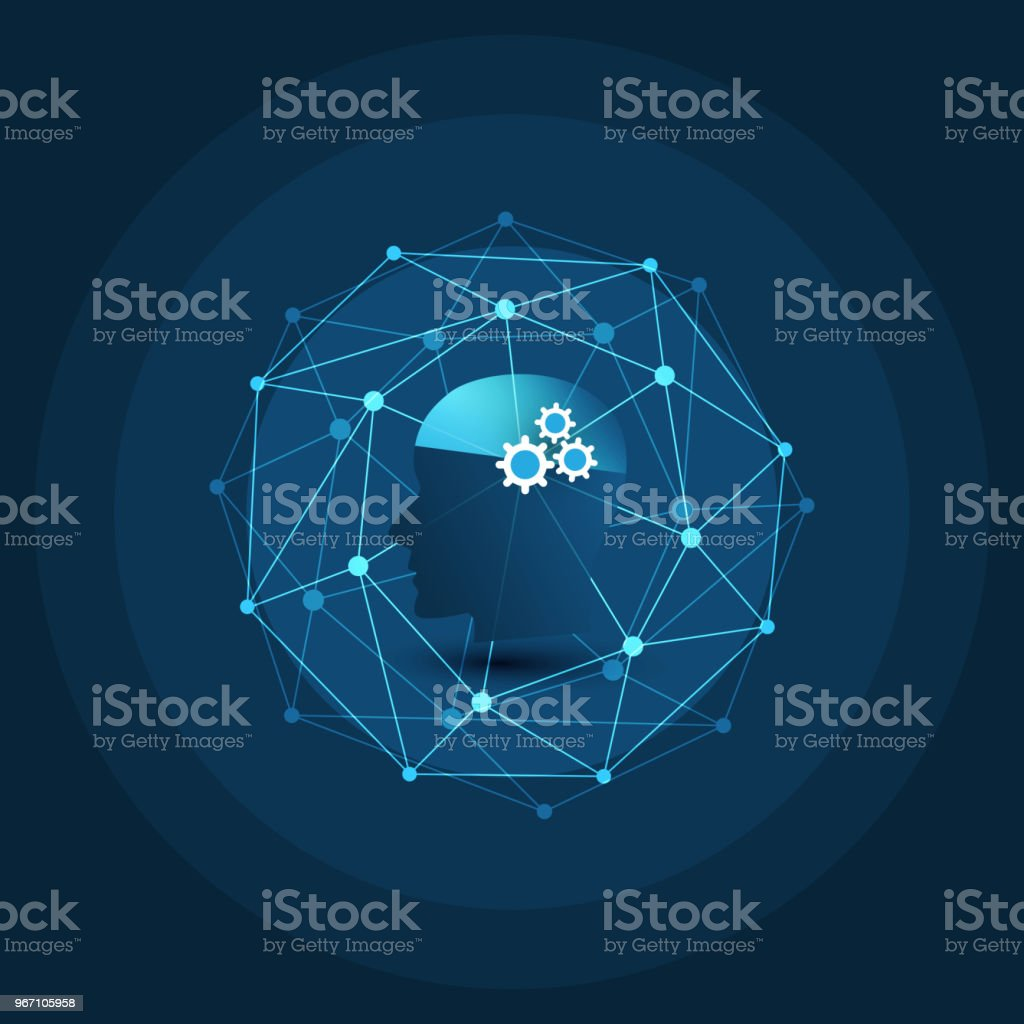 Machine Learning, Artificial Intelligence, Cloud Computing and Networks Design Concept - Royalty-free Analyzing stock vector