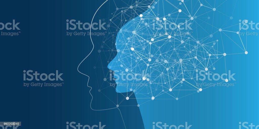 Maschinelles Lernen, künstliche Intelligenz, Cloud Computing und Design-Konzept-Netzwerke – Vektorgrafik
