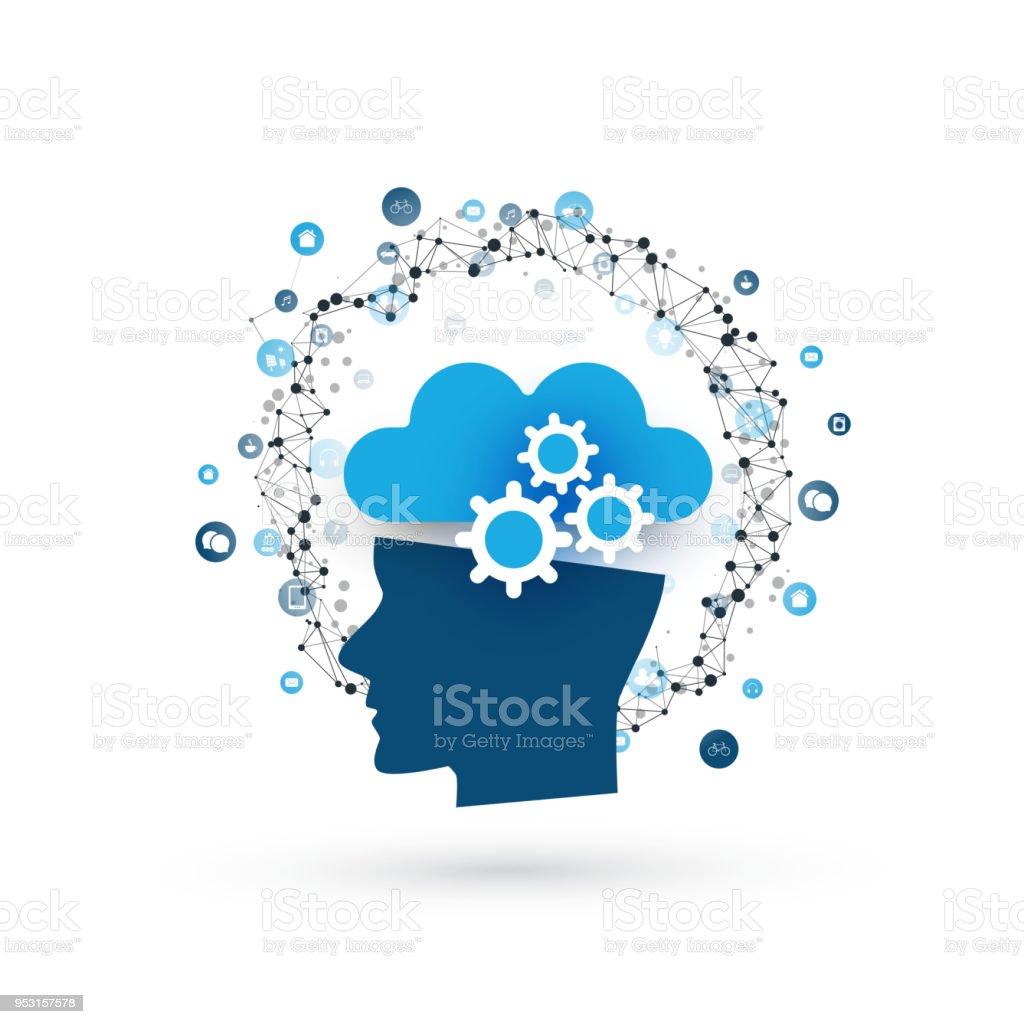 Maschinelles lernen, künstliche Intelligenz gesteuert Cloud-Services – Vektorgrafik