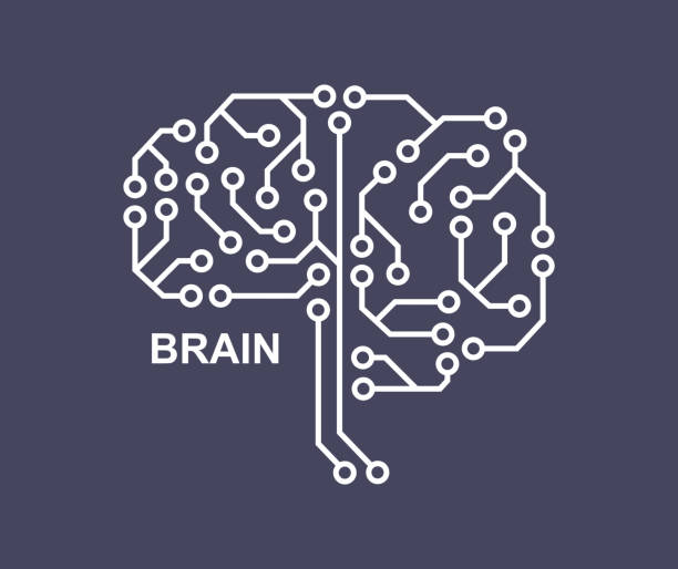 Machine learning. Artificial Intelligence. Technological background with a brain from a printed circuit board. Brain icon. vector art illustration