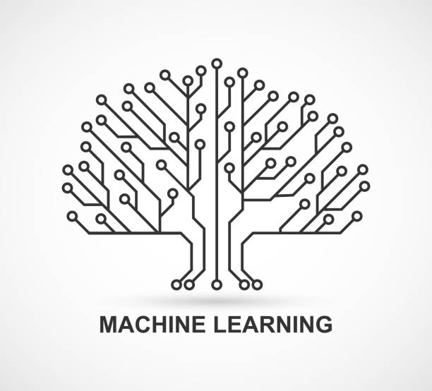 Machine learning. Artificial Intelligence. Technological background with a printed circuit board. vector art illustration