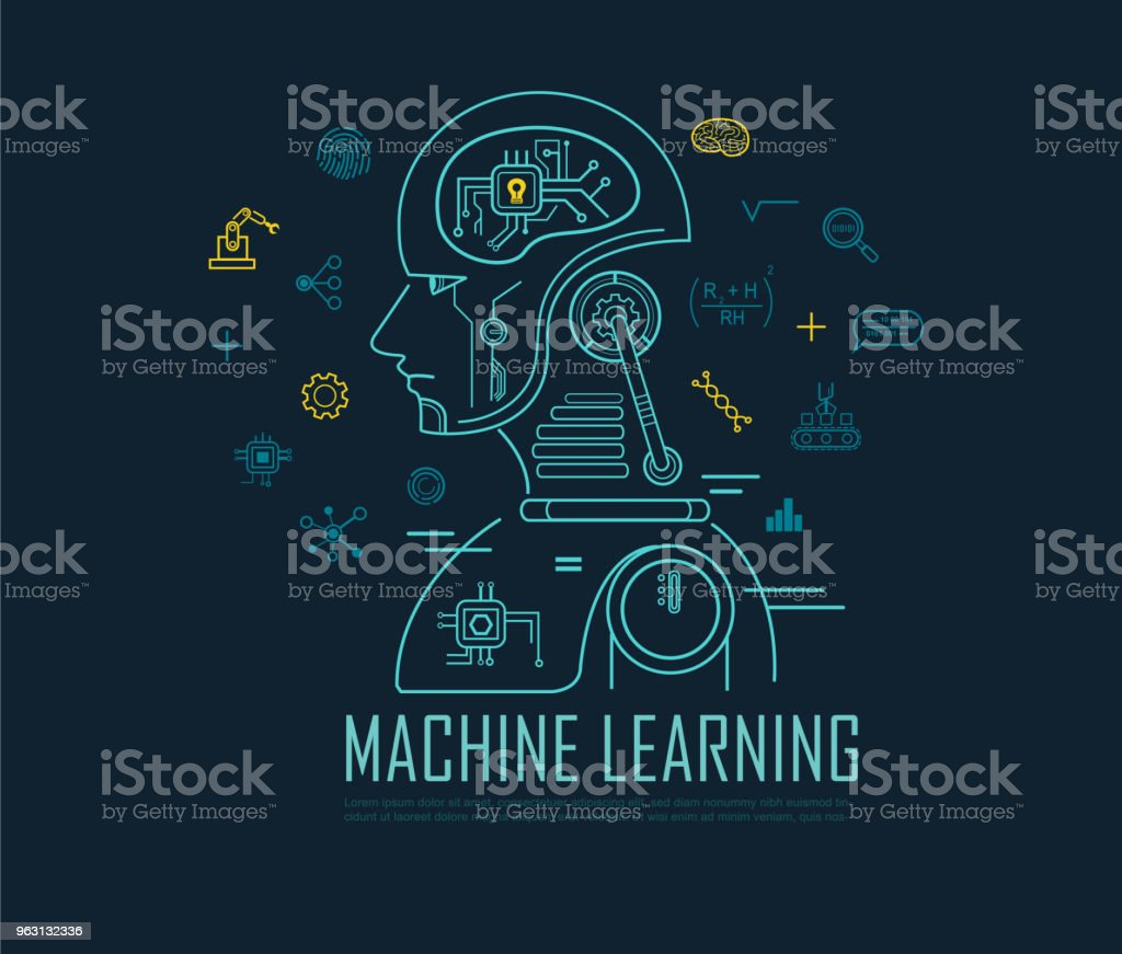 Machine learning-banderoll, artificiell intelligens, Machine learning och Deep learning platt linje vektor banderoll med ikoner på blå bakgrund. - Royaltyfri Ansökningsblankett vektorgrafik